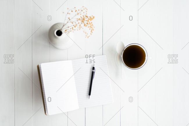 Open notebook flatlay
