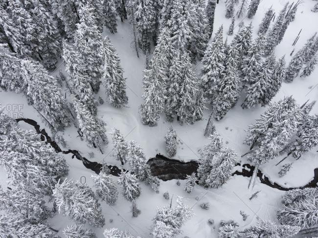 Winter wonderland aerial view