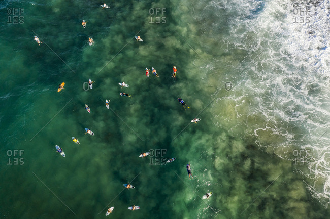 Aerial view of surfers waiting for waves at Burleigh Heads,  Australia