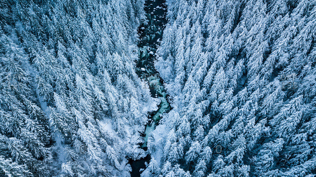 Winter river aerial photography - Offset