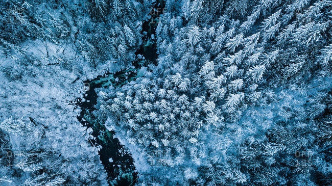 Winter river aerial photography