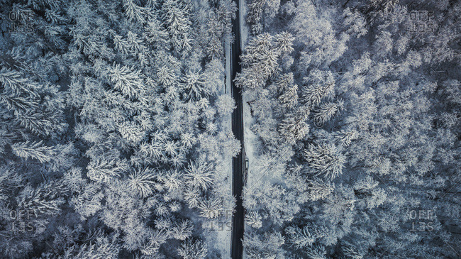 Winter road aerial photography - Offset