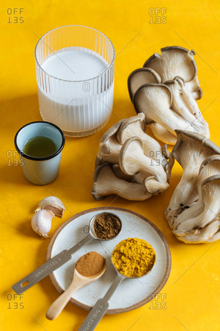 Top view of mushroom and other ingredients on a yellow background