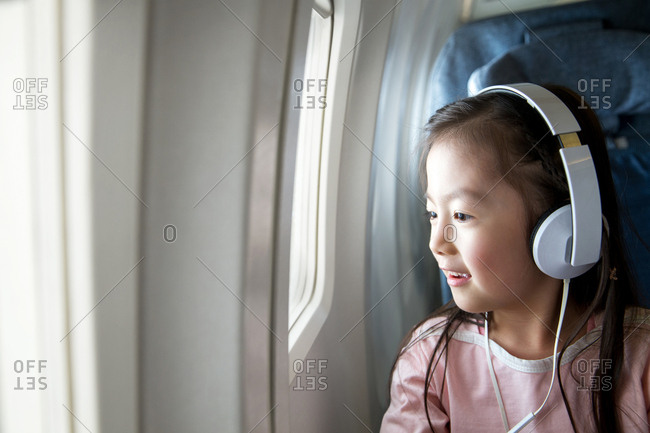 Cute girl on the plane