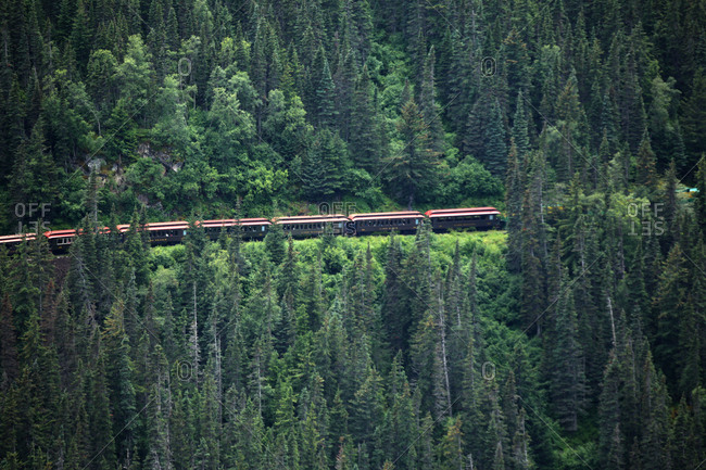 July 15, 2015: The train travels in the mountains, Alaska