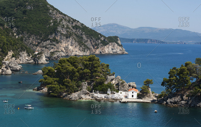 Elevated view of the island of panagia off parga on the ionian coast of greece
