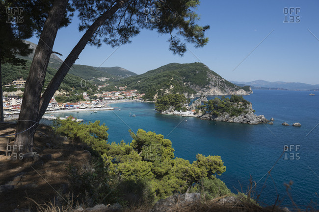 Elevated view of parga on the ionian coast of greece