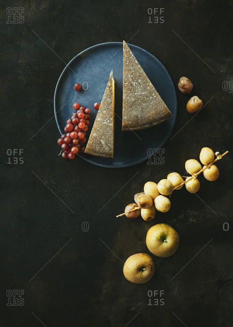 Aged cheese and fruit