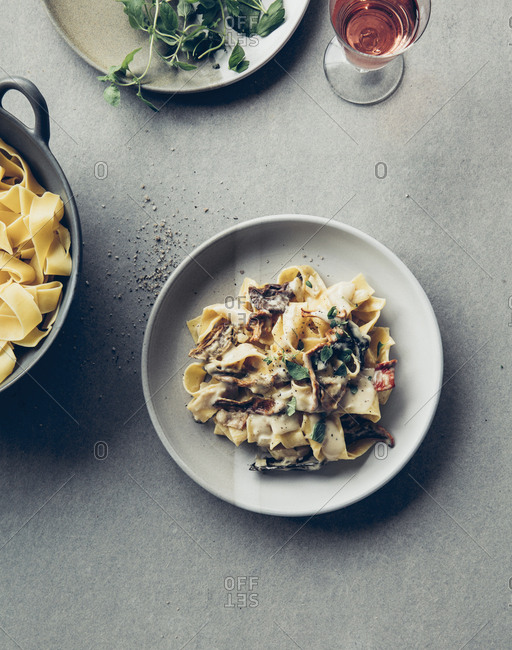 Pasta dish with forest mushrooms