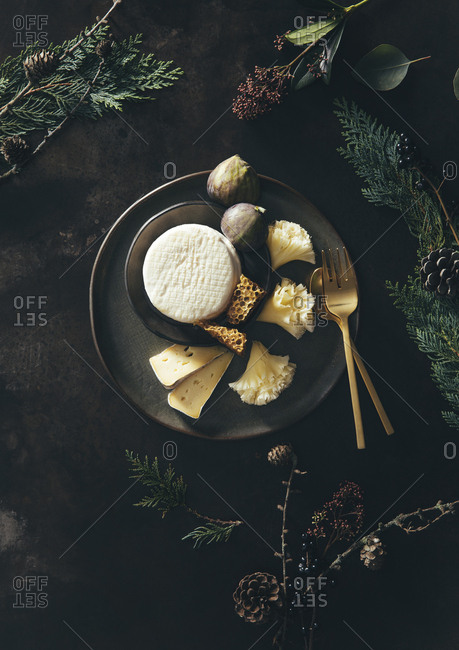 Branches surrounding cheese plate