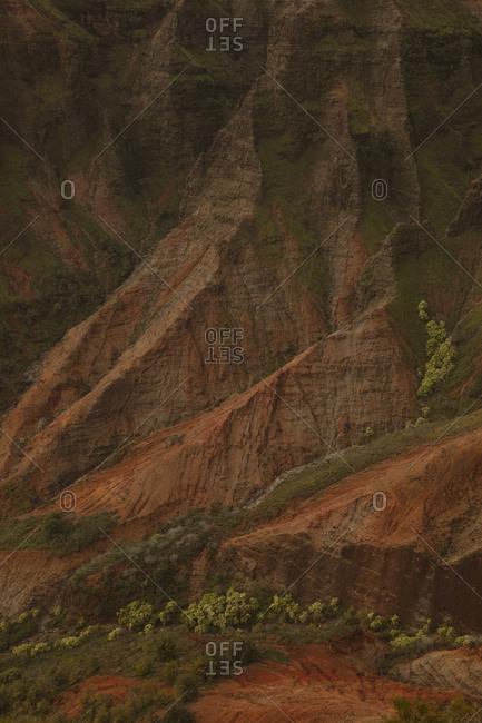 Red rock mountains in Hanapepe Valley, Kauai, Hawaii