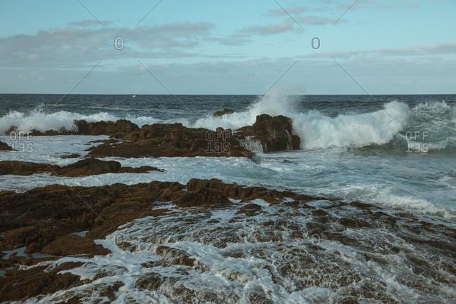 Crashing waves on the coast of Hawaii