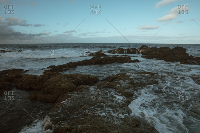 Waves on the rocky coast of Hawaii