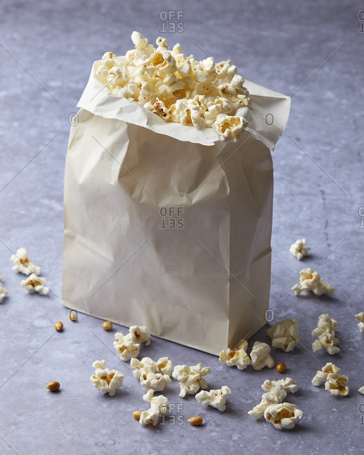 Paper bag of microwave popcorn