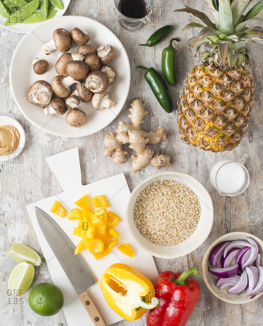 Variety of healthy ingredients on a wooden surface