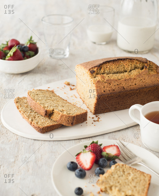 Whole wheat nut or banana loaf bread with slices