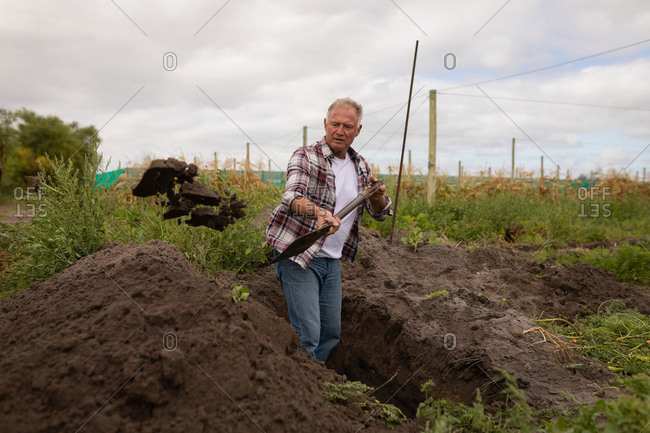 Front view of an active senior Caucasian male farmer with shovel digging in the field at farm