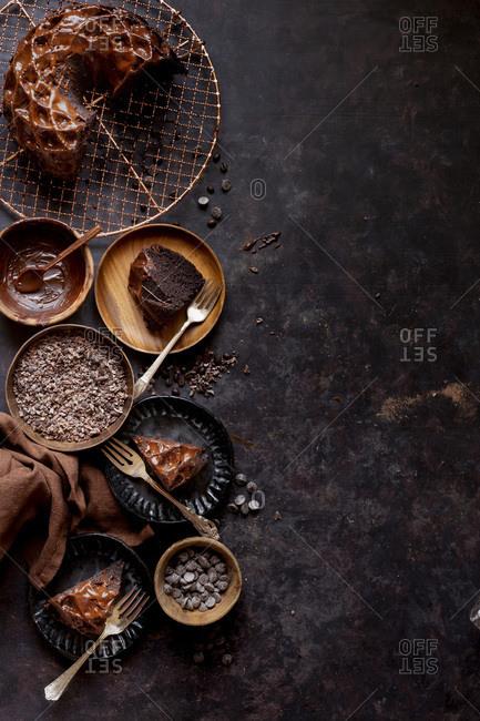 Gluten-free Chocolate Budnt cake with chocolate drizzle.