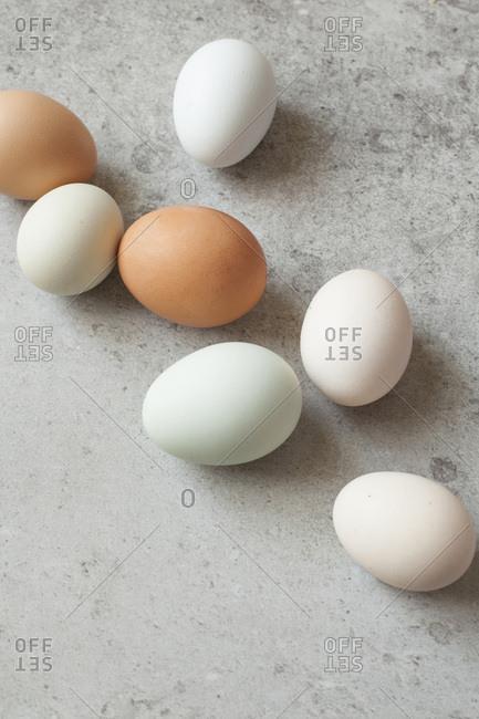 Eggs on grey stone