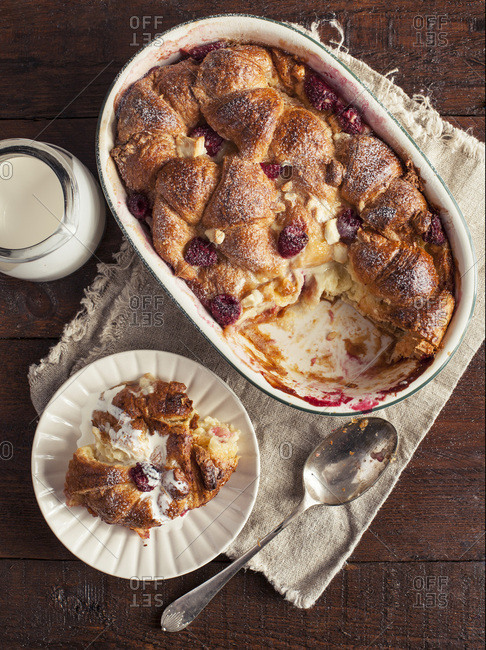 Raspberry and White Chocolate Croissant Bread and Butter Pudding