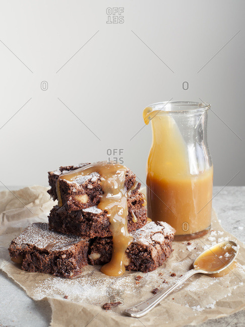 Chocolate and Macadamia Nut Brownies with Salted Caramel Sauce