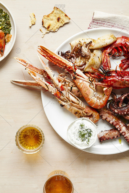 Platter of Grilled Seafood with Beer and Flatbread