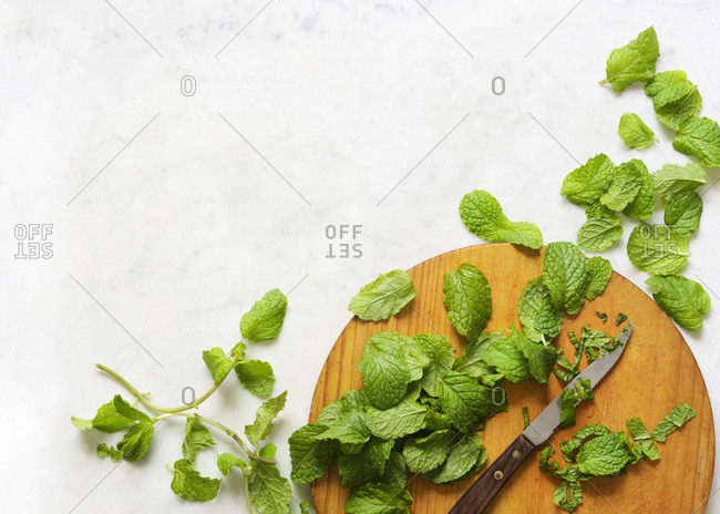 Mint leaves on a wooden cutting board with copyspace.