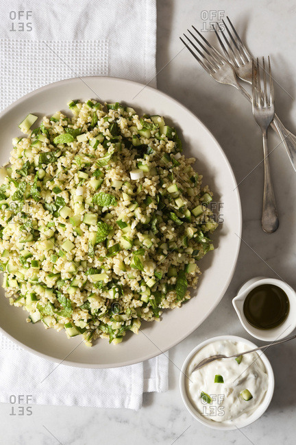 Cucumber tabbouleh salad with tzatziki dressing.