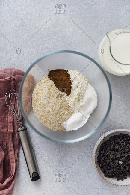 Dry ingredients for an egg free pancake recipe ready in a mixing bowl