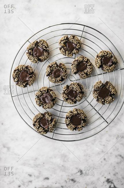 Flourless Chocolate Tahini Thumbprint Cookies