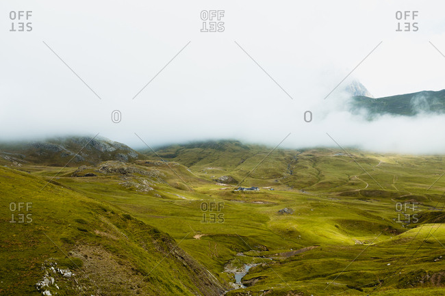 Fog over beautiful hilly terrain