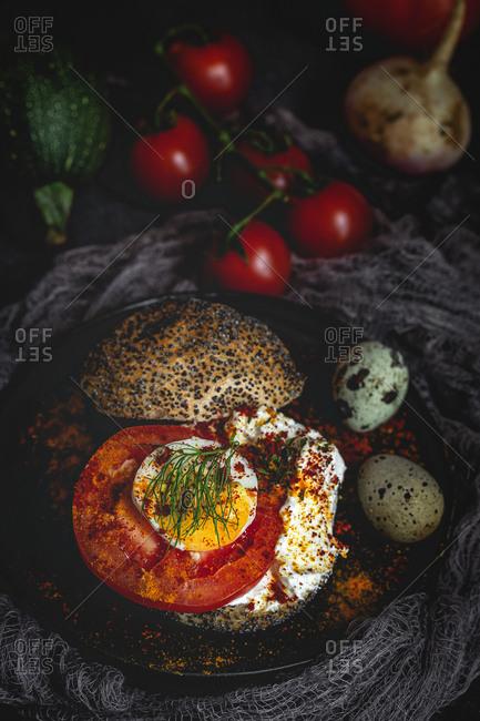 Healthy homemade vegetable sandwich food on dark background
