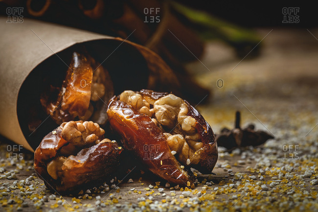 Dates fruits with walnuts, mint and cinnamon for Ramadan. Halal. Muslim