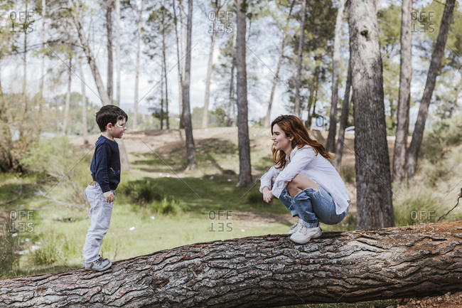 Side view of pretty young female in casual outfit sitting on haunches on tree trunk and smiling while communicating with little boy on sunny day in countryside