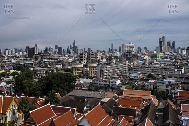 Bangkok, Thailand - September 4, 2018: View of Bangkok from Wat Ratchanatdaram temple