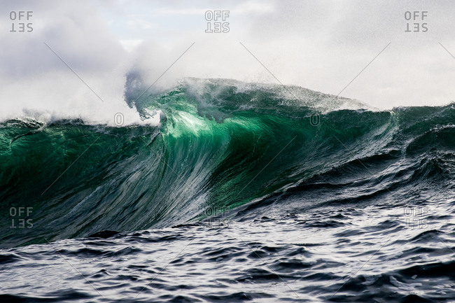 Cresting turquoise waves in the ocean