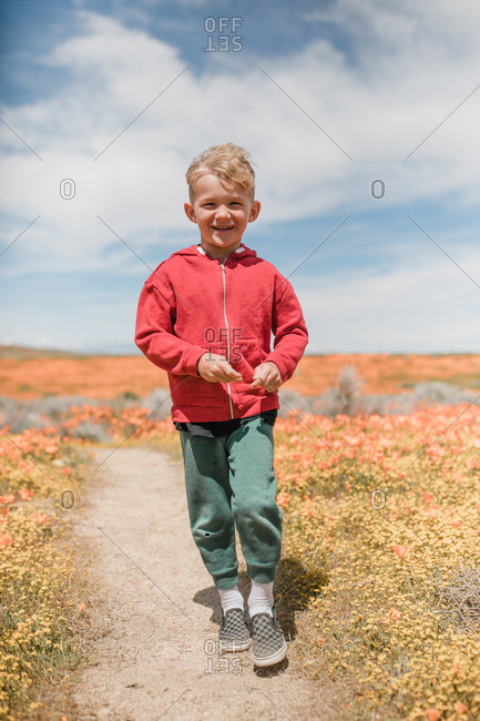 Portrait of a young boy in a field of poppies, California