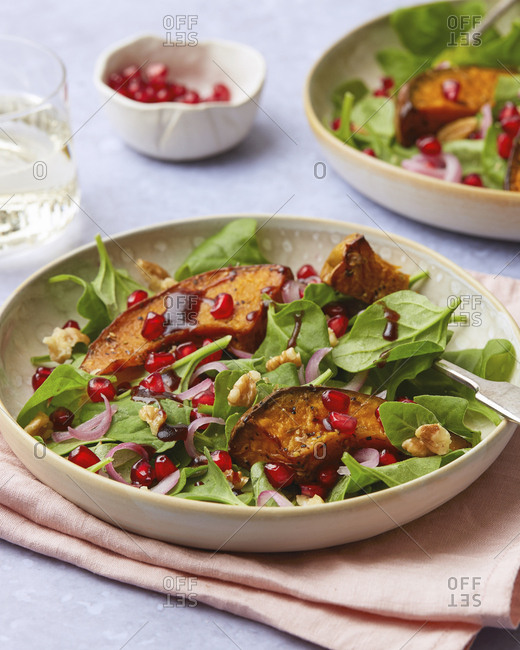 Squash Steak Salad with Pomegranate Seeds and Walnuts