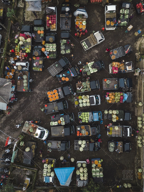 Bali, Indonesia - February 1, 2019: Aerial view of fruit market