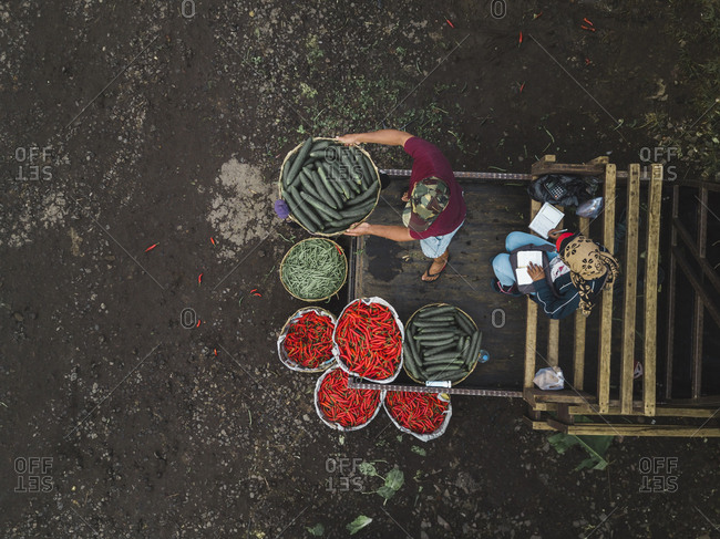 Aerial view of fruit market