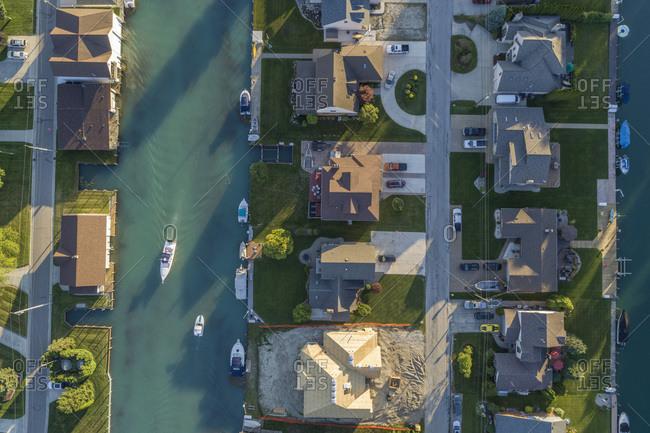 Housing along St. Clair River, Anchor Bay, Michigan