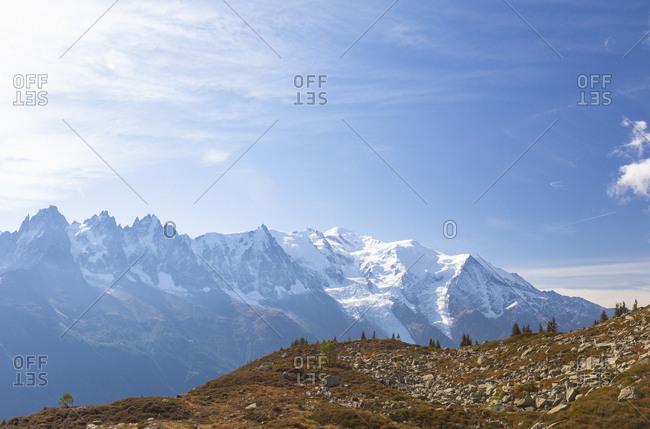 Snow on Mont Blanc massif, Chamonix, France