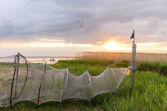 Germany- Usedom- Loddin- fish trap at sunset