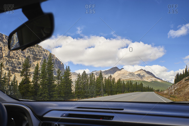 Canada- Alberta- Jasper National Park- Banff National Park- Icefields Parkway- road and landscape seen through windscreen