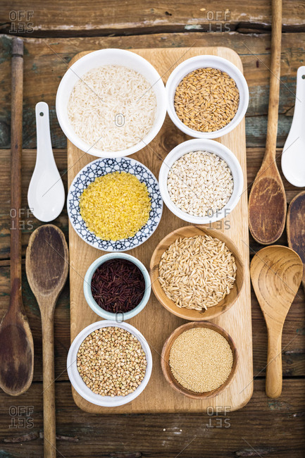 Buckwheat- red rice- bulgur- rice- amaranth- oats- barley and spelt