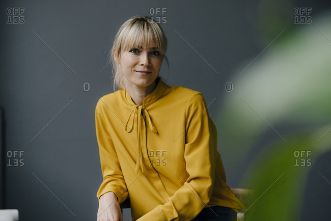 Portrait of a serene blond woman