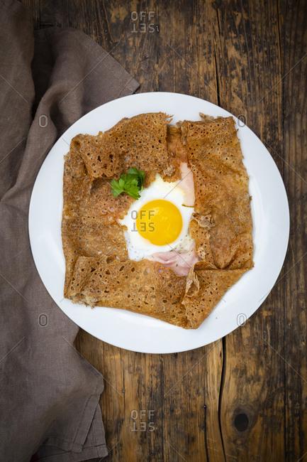 Galette complete- Breton buckwheat pancake with egg- cheese und ham- gluten free