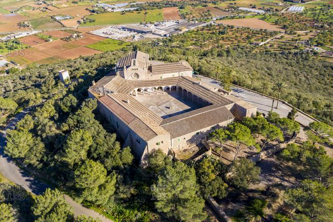 Spain- Majorca- aerial view over Santuari de Monti Sion