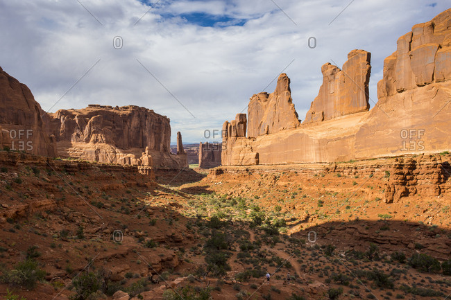 USA- Utah- Arches National Park- Stone wall of the window section