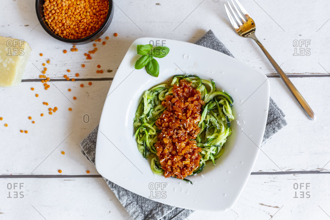 Zoodles with vegetarian Bolognese sauce- parmesan and basil